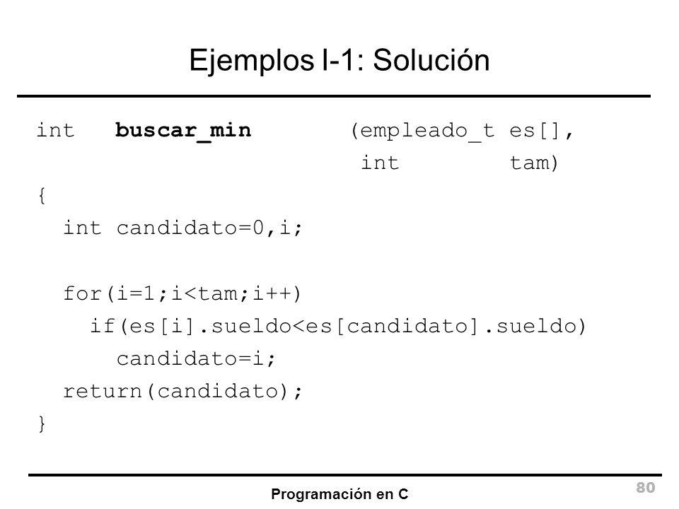 Ejemplos I-1: Solución int buscar_min (empleado_t es[], int tam) {